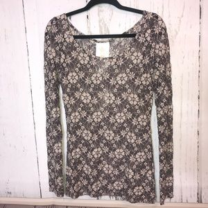 Anthropologie Floral Lace Top Size XS